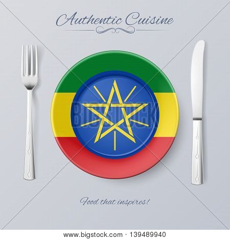 Authentic Cuisine of Ethiopia. Plate with Ethiopian Flag and Cutlery