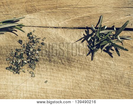 Rosemary Plant On Cutting Board Vintage Desaturated