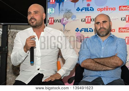 Giffoni Valle Piana SA ITALY - July 16 2016: Actor Marco d'Amore and Francesco Ghiaccio poses at master class during the 46th Giffoni Film Festival