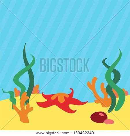 Underwater landscape background with place for your text. Vector illustration.