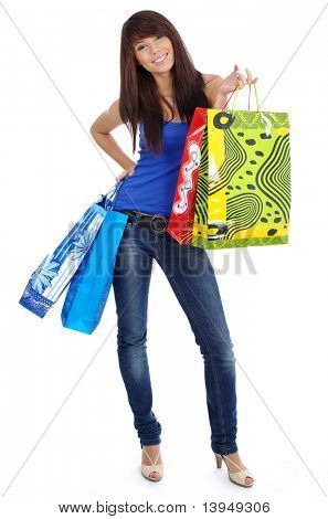 Bella ragazza con shopping bag