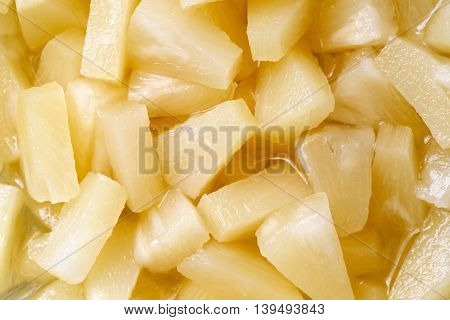 Background Of Canned Pineapple Pieces From Above.