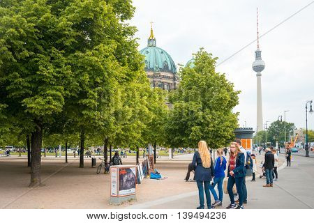 BERLIN, GERMANY- May 18: Traditional old Berlin Cathedral. Beautiful street view of Berliner Dom in Berlin on May 18, 2016. BERLIN, Germany.