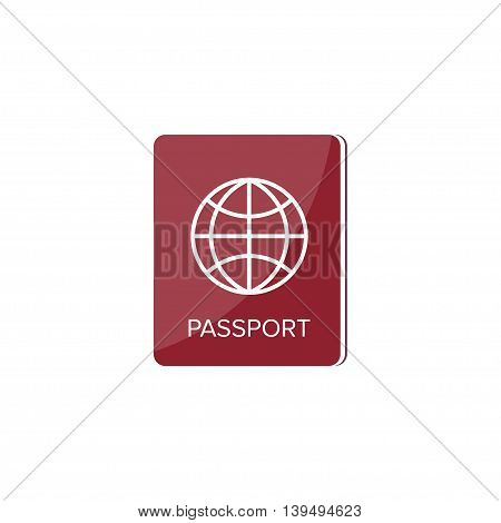 Passport in a flat style. Travel, emigration. Citizenship. Passenger document Vector illustration