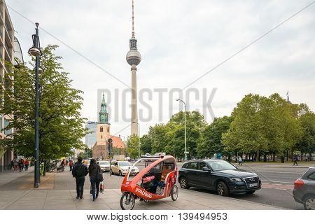 BERLIN, GERMANY- May 18 Tv tower or Fersehturm in Berlin on May 18, 2016. BERLIN, Germany.