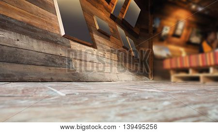Picture frame on wall and floor perspective antique Red Balau wood macro photo Right cornor is blur concept antique coffee shop background