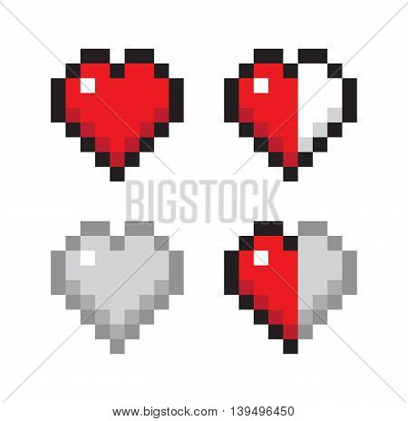 Set of Pixel Hearts 8 bit - Isolated Vector Illustration