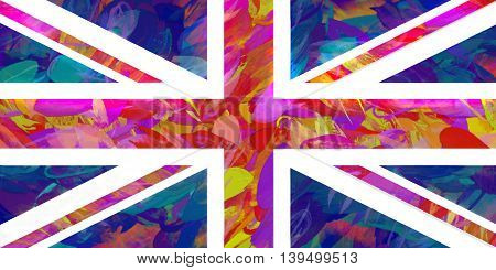 Illustration of a colorful Union Jack flag