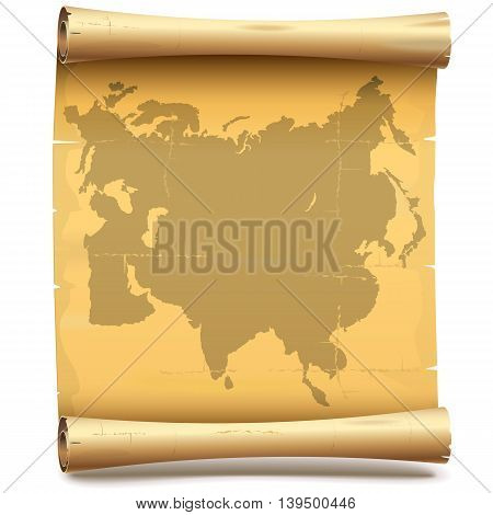 Vector Paper Scroll with Eurasia isolated on white background