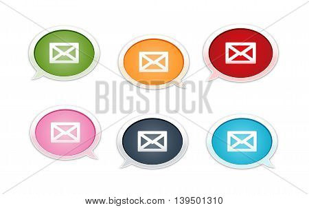 the collection of six bubbles with envelope pictogram