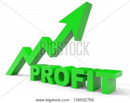Graph up profit arrow on white background. 3D illustration.