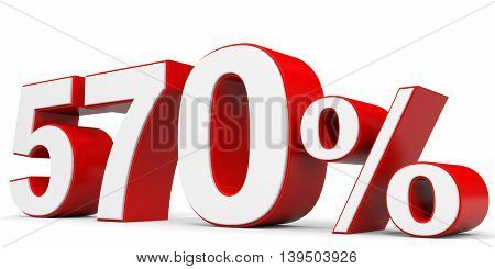 Discount 570 percent on white background. 3D illustration.