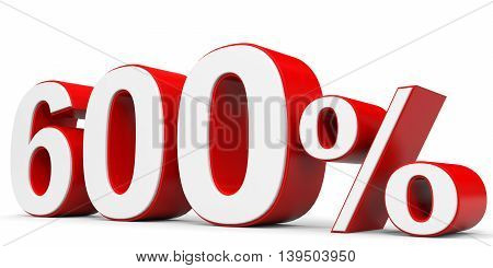 Discount 600 percent on white background. 3D illustration.