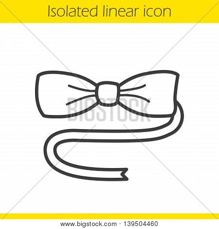 Bow tie linear icon. Thin line illustration. Tuxedo butterfly tie contour symbol. Vector isolated outline drawing