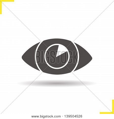 Human eye icon. Drop shadow ophtalmology silhouette symbol. Sight. Negative space. Vector isolated illustration