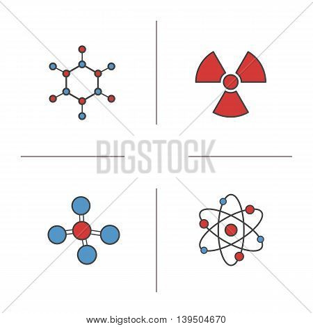 Chemistry and physics color icons set. Atom, radioactive and molecule signs. Molecular structure and radiation vector isolated illustrations