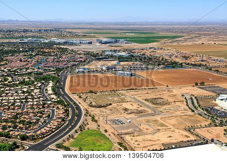 High technology industry growth viewed from above over Ocotillo Arizona