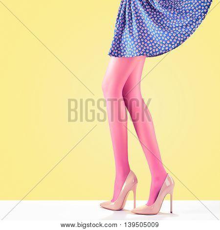 Fashion. Female Skirt. Long Legs, fashion skirt, Trendy high Heels. Female sexy legs, Stylish skirt, Summer Glamour Luxury heels on legs, Model girl in fashion skirt. Fashion female party Outfit