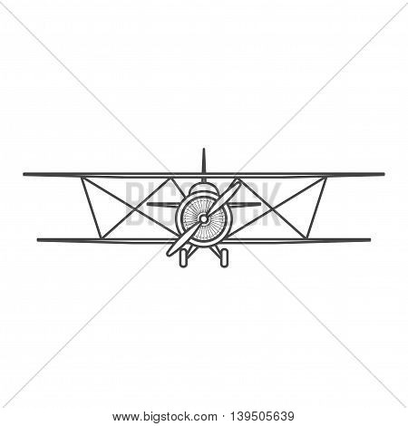 Retro airplane illustration. Biplane. Vintage plane front view. Isolated illustration.