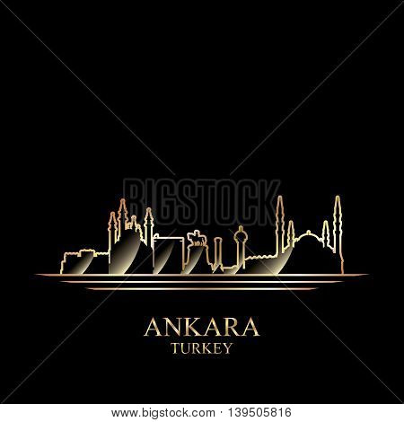 Gold silhouette of Ankara on black background vector illustration