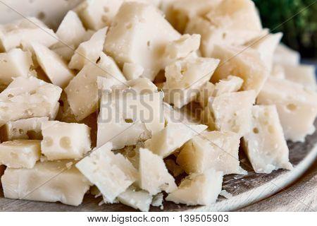 italian pecorino cheese blocks. Gourmet food close up