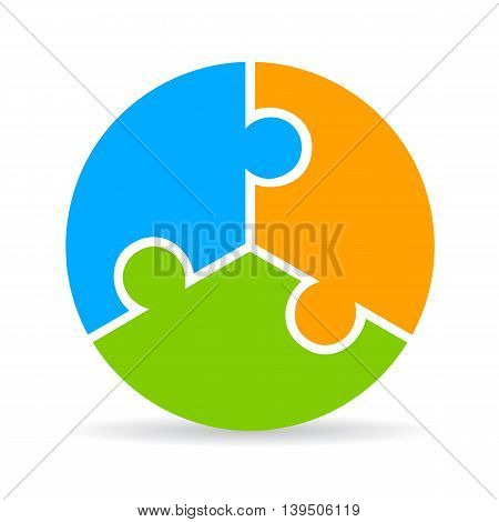 Three part puzzle process diagram isolated on white background