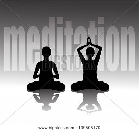Vector illustration of silhouette practicing yoga, meditating in Lotus Pose
