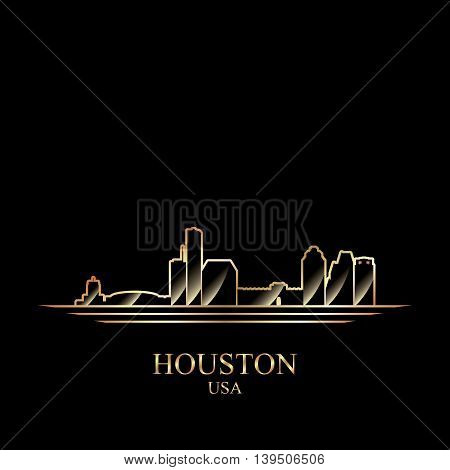 Gold silhouette of Houston on black background vector illustration