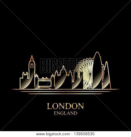 Gold silhouette of London on black background vector illustration