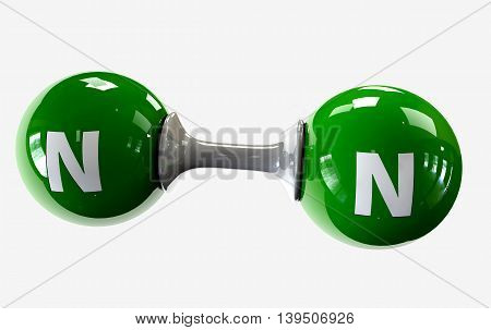 3D Illustrator Molecule Of Nitrogen On A White Background