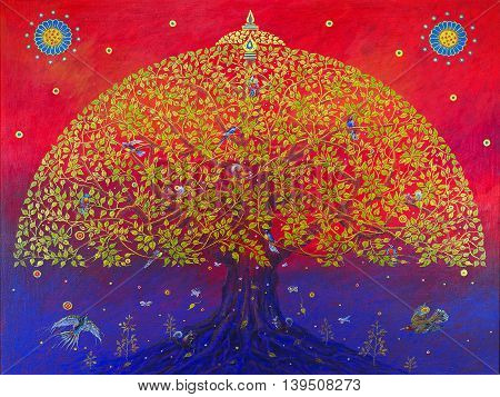 The big bodhi tree give the birds happy.