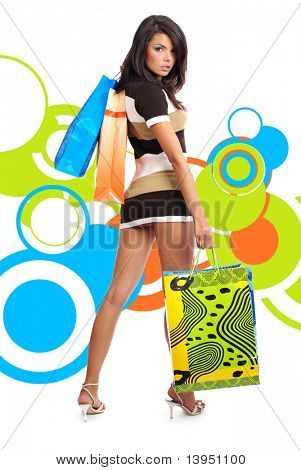 beautiful sexy shopping girl holding bag over abstract round modern design background poster