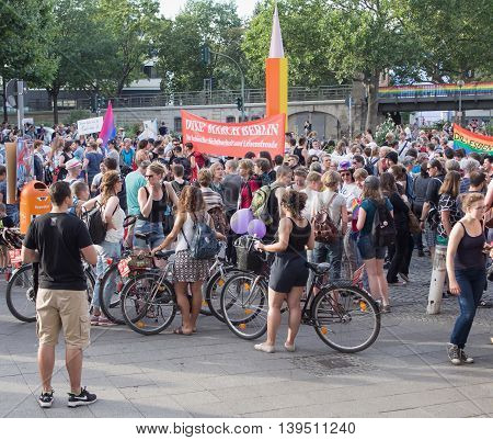 BERLIN GERMANY - JULY 22 2016: Demonstrators at the Dyke March Berlin at Nollendorfplatz Berlin