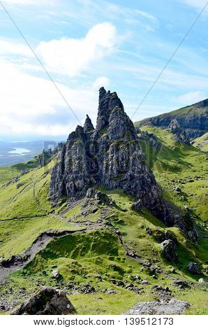 Hiking paths and hiking trails at the Old Man of Storr on the Isle of Skye in Scotland.