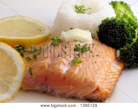 Salmon Dinner With Butter