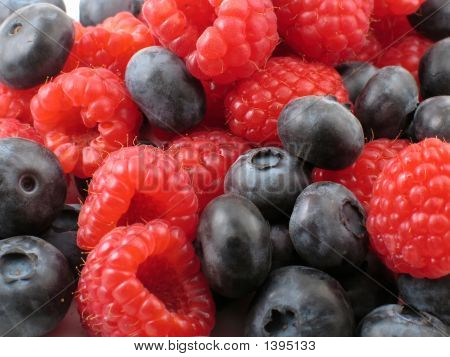 Raspberry And Blueberry Background