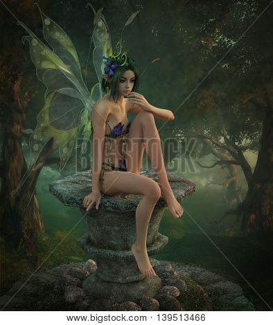 3d computer graphics of a cute fairy with a purple dress made of flowers and butterfly wings sitting on a pedestal