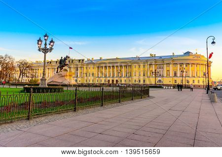 View to the Senate Square the building of the Constitutional Court and the Bronze Horseman in Saint Petersburg Russia