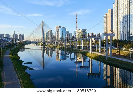 Sao Paulo Brazil Octavio Frias de Oliveira Bridge - Estaiada Bridge