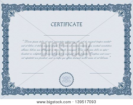 Certificate diploma template vector illustration, gift frame
