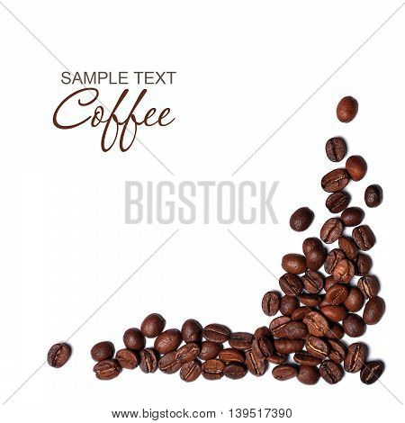 Coffee beans isolated on white background. Invigorating drink