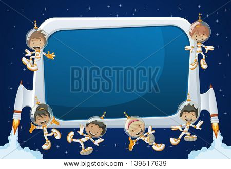 Futuristic rocket screen board with astronaut cartoon children in the space.