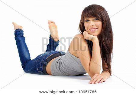 sexy Mädchen in Blue jeans
