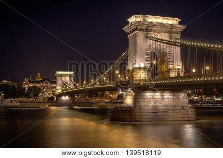 Iluminated Chain Bridge at night in Budapest, Hungary