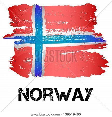 Flag of Norway from brush strokes in grunge style isolated on white background. Country in Northern Europe. Vector illustration