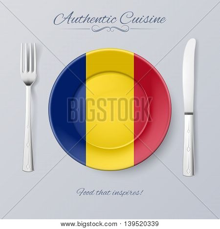 Authentic Cuisine of Romania. Plate with Romanian Flag and Cutlery