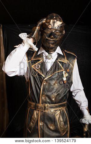 Man In A Mask In A Cyborg Costume