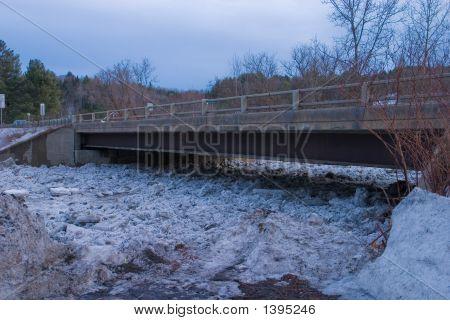 Montpelier Vermont, Bridge With Ice Debris Dam Stacked Up Below