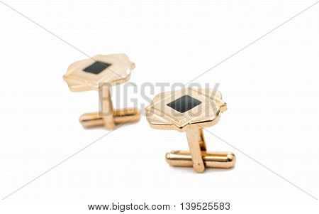 elegant, diamond cufflinks on a white background