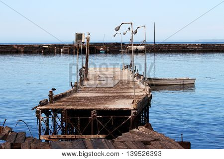 Hurricane aftermath: broken dock at Santa Rosalia, Mexico